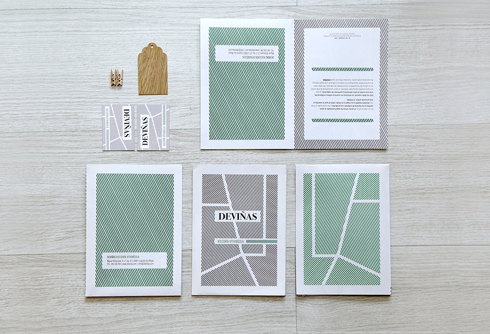 Identidad corporativa y elementos promocionales diseñados para Deviñas